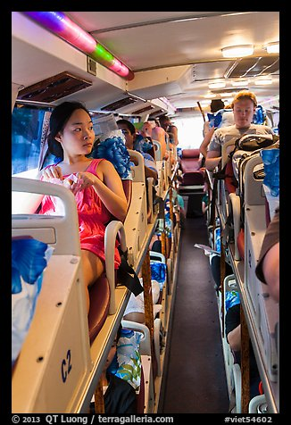 Tourists on sleeper bus. Vietnam (color)