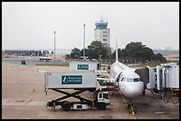 Airliner and control tower, Tan Son Nhat airport, Tan Binh district. Ho Chi Minh City, Vietnam ( color)