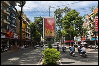 Leafy boulevard, district 5. Ho Chi Minh City, Vietnam (color)