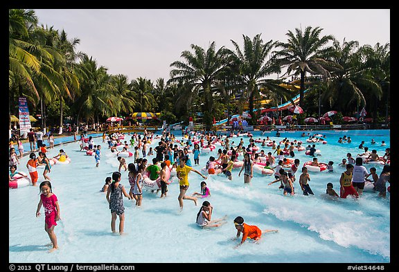 Pool with artificial waves, Dam Sen Water Park, district 11. Ho Chi Minh City, Vietnam (color)
