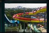 Water slides and skylines, Dam Sen Water Park, district 11. Ho Chi Minh City, Vietnam ( color)