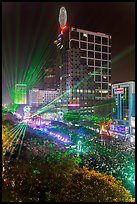 Laser show, central Saigon, New Year eve. Ho Chi Minh City, Vietnam ( color)