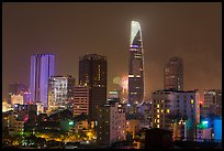 Saigon skyline and fireworks. Ho Chi Minh City, Vietnam (color)