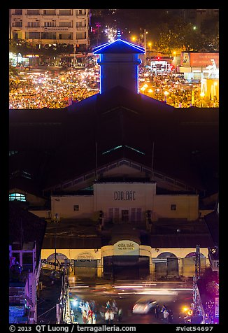 Ben Thank market from above at night. Ho Chi Minh City, Vietnam (color)