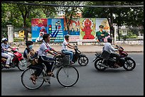 Bicycle and motorbikes. Ho Chi Minh City, Vietnam (color)