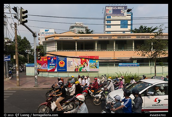 Traffic waiting at intersection. Ho Chi Minh City, Vietnam (color)
