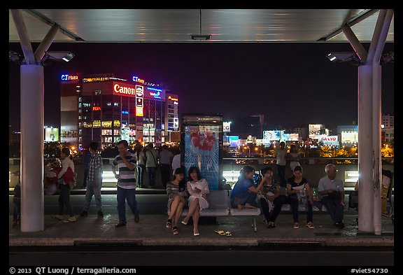 Outside Than Son Nhat airport at night. Ho Chi Minh City, Vietnam (color)