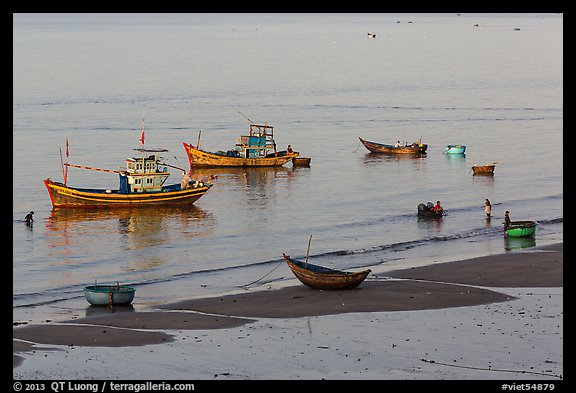 Beach and fishing boats from above. Mui Ne, Vietnam (color)