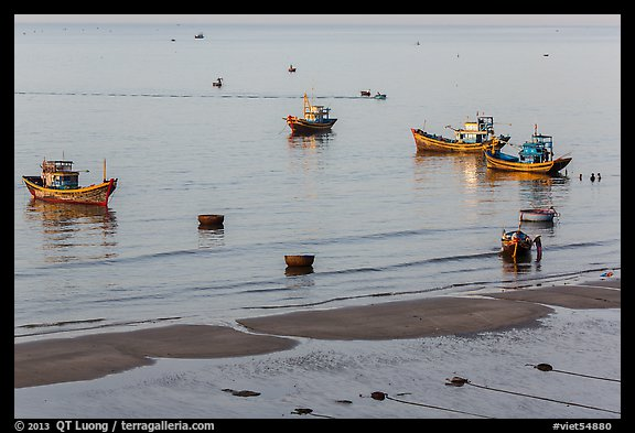 Coracle boats, fishing boats from above. Mui Ne, Vietnam (color)