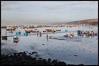 Beach and fishing fleet, early morning. Mui Ne, Vietnam (color)