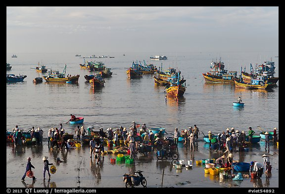 View from above of fishermen, vendors, and fishing fleet. Mui Ne, Vietnam (color)