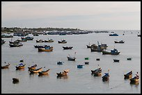 Fishing fleet and village. Mui Ne, Vietnam ( color)