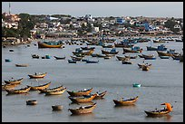 Fishing boats and village. Mui Ne, Vietnam (color)