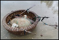 Round coracle boat with fishing gear. Mui Ne, Vietnam ( color)