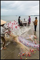 Woman folding fishing net. Mui Ne, Vietnam (color)