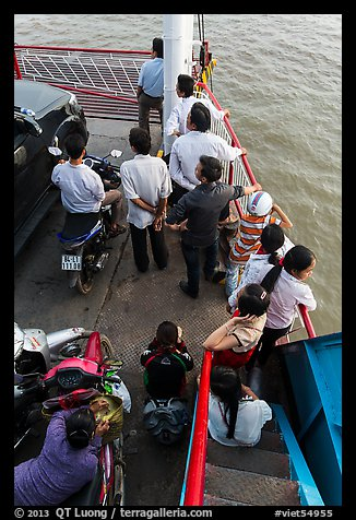 People on ferry seen from above. Mekong Delta, Vietnam (color)