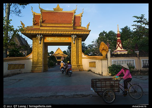Khmer-style Ong Met Pagoda seen from street. Tra Vinh, Vietnam (color)