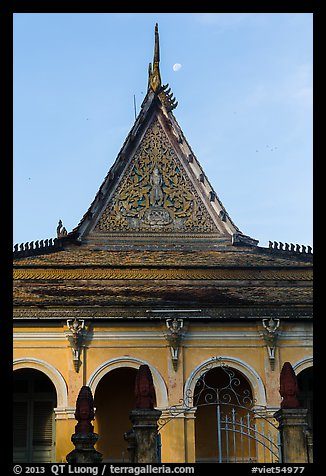 Roof detail and moon, Ong Met Pagoda. Tra Vinh, Vietnam (color)