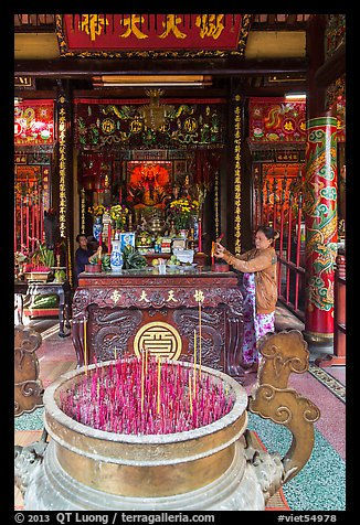 Quan Cong altar in Ong Chinese Pagoda. Tra Vinh, Vietnam (color)