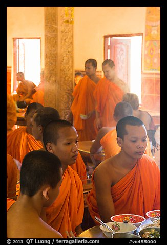 Theravada monks in dining room, Hang Pagoda. Tra Vinh, Vietnam (color)