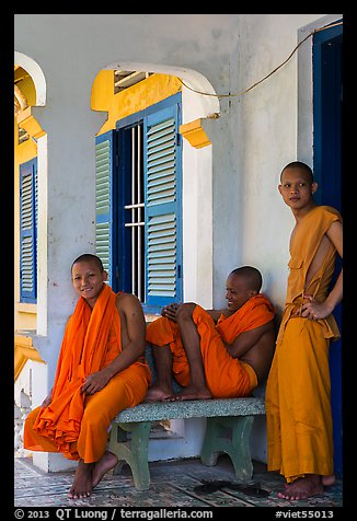 Young monks at Khmer pagoda. Tra Vinh, Vietnam (color)