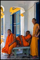 Young monks at Khmer pagoda. Tra Vinh, Vietnam ( color)