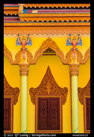 Facade and roof detail, Khmer pagoda. Tra Vinh, Vietnam (color)