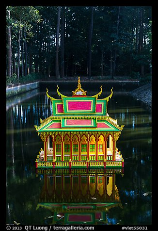 Spirit house on small pond. Tra Vinh, Vietnam (color)