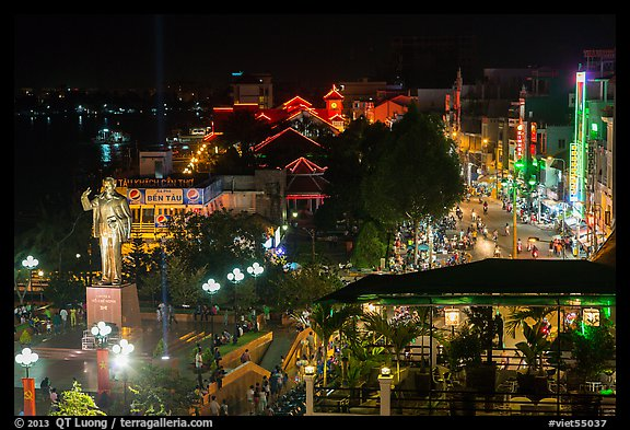 Mekong River waterfront at night from above. Can Tho, Vietnam (color)