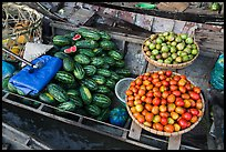 Vegetables and fruit for sale on boat, Phung Diem. Can Tho, Vietnam ( color)