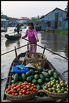 Woman paddles boat loaded with fruits and vegetable, Phung Diem. Can Tho, Vietnam ( color)