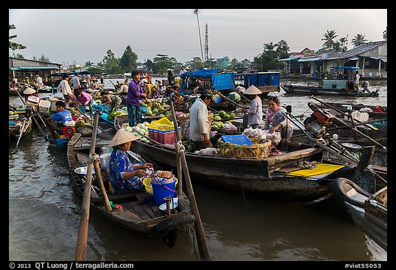 Large gathering of boats at Phung Diem floating market. Can Tho, Vietnam (color)