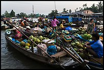 Boats closely decked together, Phung Diem floating market. Can Tho, Vietnam ( color)