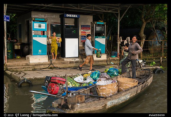 Riverside gas station. Can Tho, Vietnam (color)