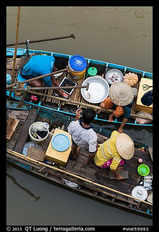 Couples on two side-by-side boats seen from above. Can Tho, Vietnam (color)