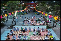 Worshippers from above, Viet Nam Quoc Tu pagoda, District 10. Ho Chi Minh City, Vietnam ( color)