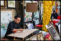 Caligraphers at lunar new year market. Ho Chi Minh City, Vietnam ( color)
