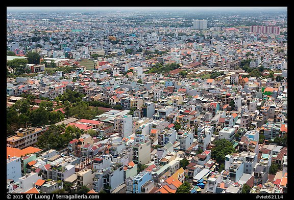 Aerial view of suburbs. Ho Chi Minh City, Vietnam (color)