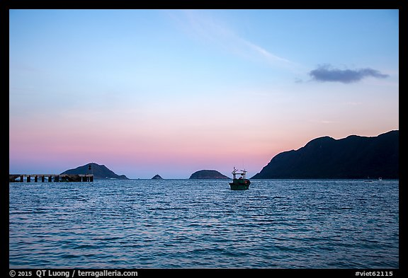 Boats and Con Son Bay at sunset. Con Dao Islands, Vietnam (color)