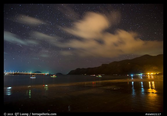 An Hai Beach and pier at night, Con Son. Con Dao Islands, Vietnam (color)