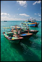 Fishing boats floating on clear water, Con Son. Con Dao Islands, Vietnam ( color)