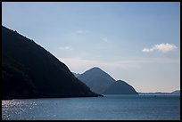 Hills plunging in sea, Bay Canh Island, Con Dao National Park. Con Dao Islands, Vietnam ( color)