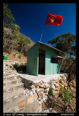 Entrance booth with Vietnam flag, Bay Canh Island, Con Dao National Park. Con Dao Islands, Vietnam (color)