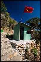 Entrance booth with Vietnam flag, Bay Canh Island, Con Dao National Park. Con Dao Islands, Vietnam ( color)