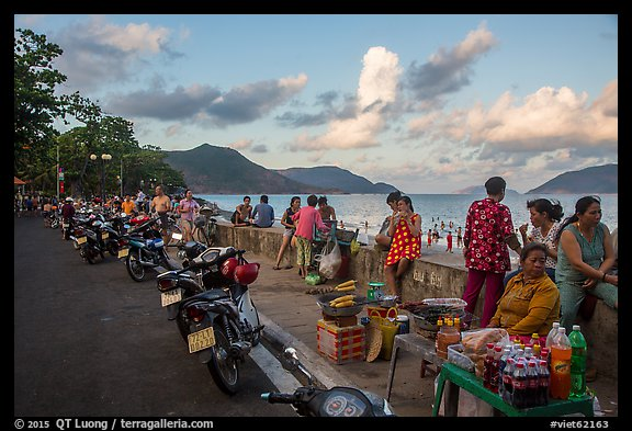 Food vendors on seafront promenade, Con Son. Con Dao Islands, Vietnam (color)