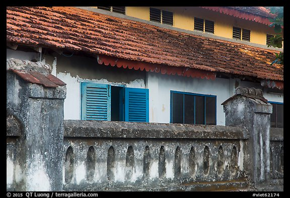Facade of colonial-area building, Con Son. Con Dao Islands, Vietnam (color)