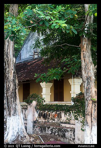 Tropical trees and historic house, Con Son. Con Dao Islands, Vietnam (color)