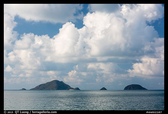 Tropical clouds above Bay Canh Island and other islets. Con Dao Islands, Vietnam (color)