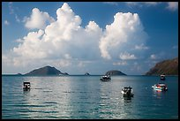 Boats, islets, and clouds, Con Son Bay. Con Dao Islands, Vietnam ( color)