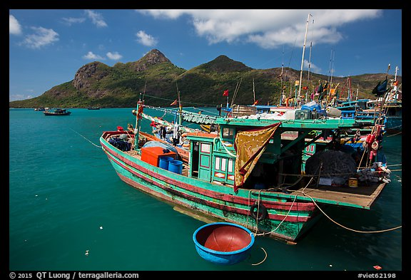 Wooden fishing boats in Ben Dam harbor. Con Dao Islands, Vietnam (color)